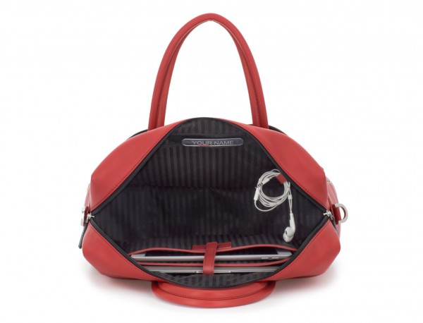 large leather briefbag in red open