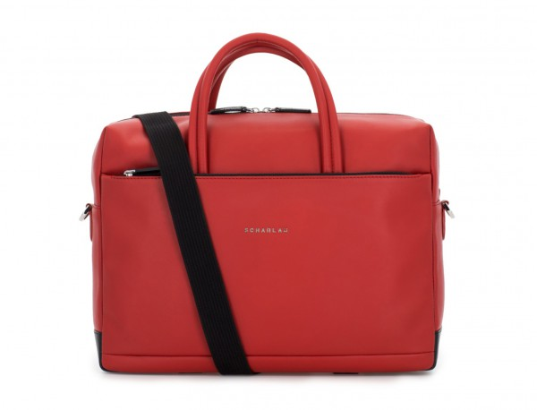 large leather briefbag in red strap