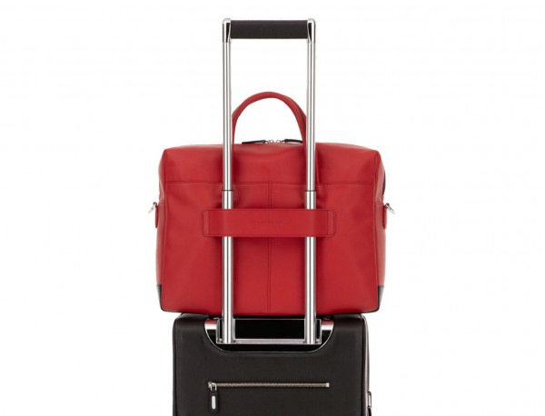large leather briefbag in red trolley