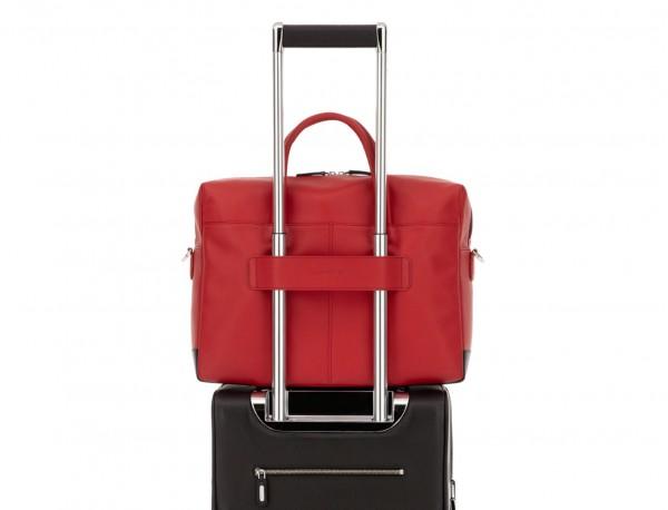 maletín grande de piel rojo trolley