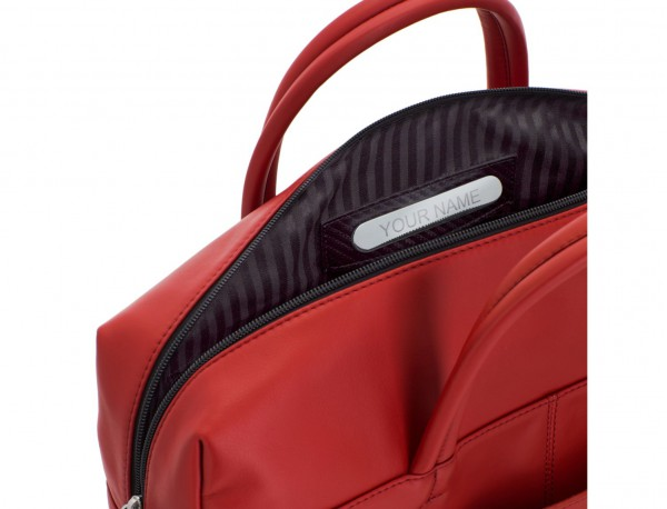 large leather briefbag in red personalized