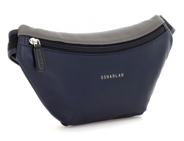 leather waist bag in blue side