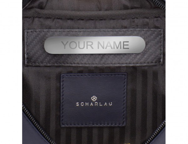 leather waist bag in  blue personalized