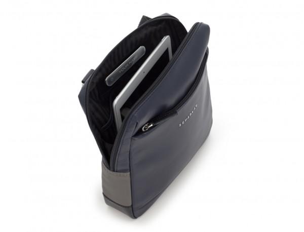 bolso bandolera de piel azul tablet