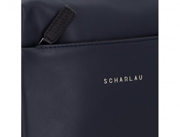 bolso bandolera de piel azul logo