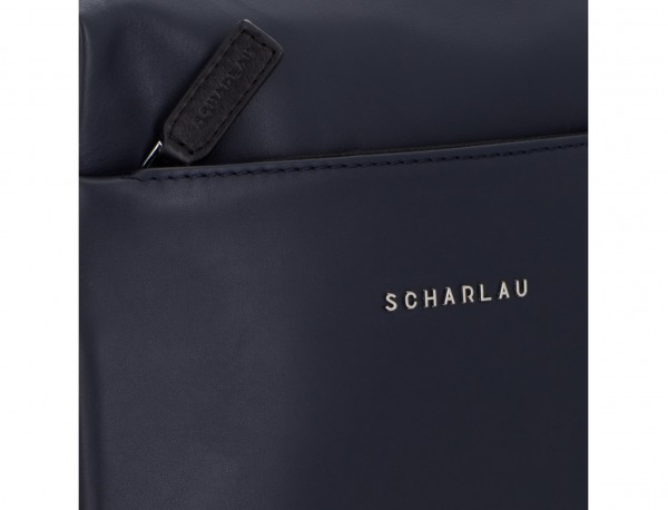 leather cross body bag blue logo