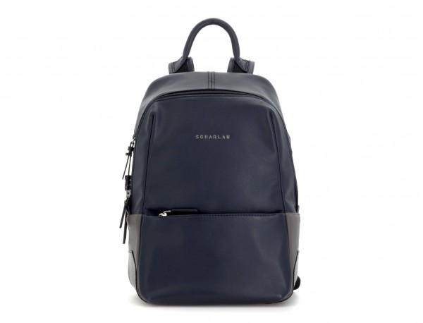 small leather backpack blue front
