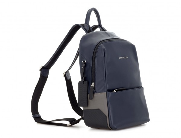 small leather backpack blue side