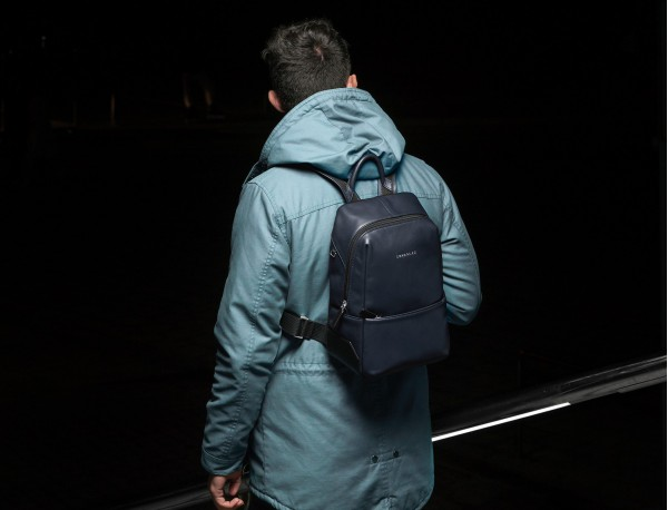 small leather backpack blue model