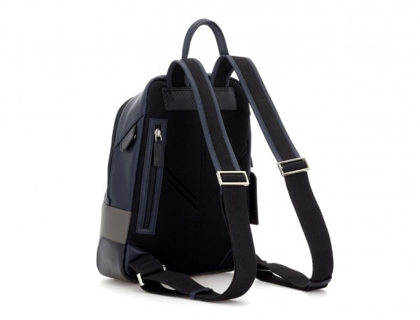small leather backpack blue back