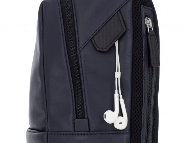 small leather backpack blue detail