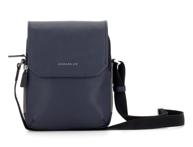 bolso bandolera de con solapa azul frontal