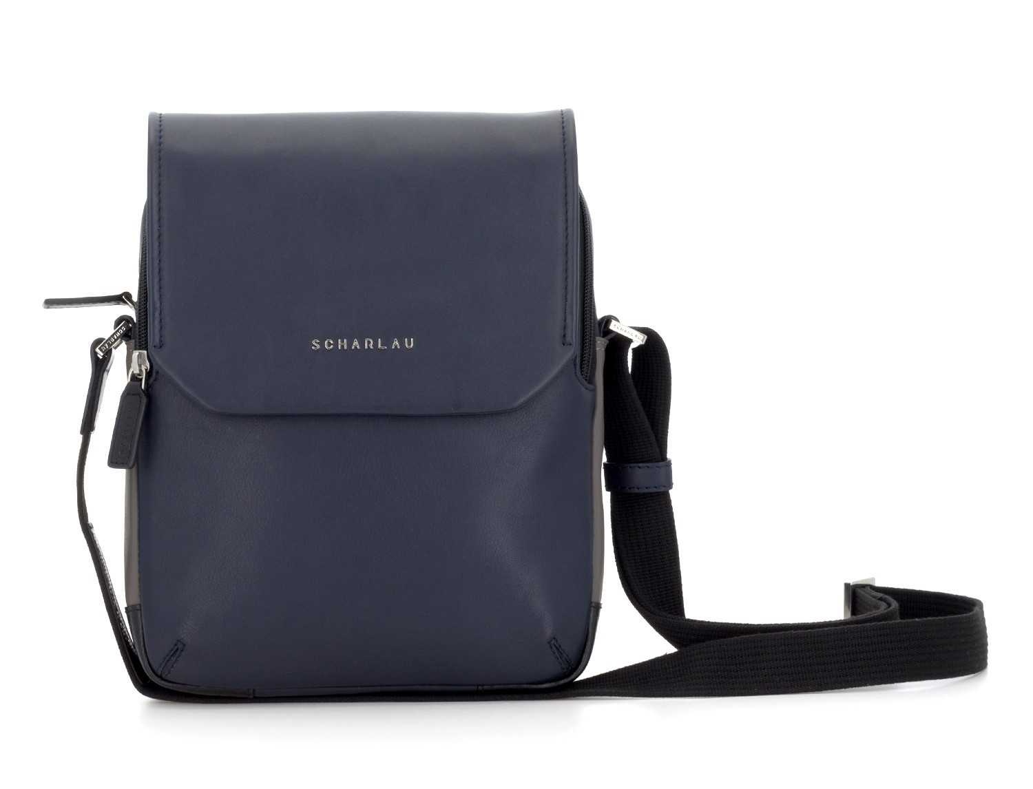 Leather crossbody bag with flap in blue front