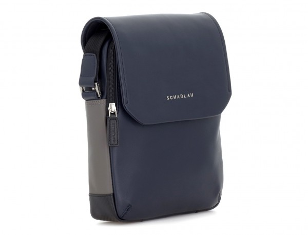 Leather crossbody bag with flap in blue side