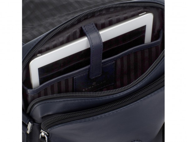 Leather crossbody bag with flap in blue tablet