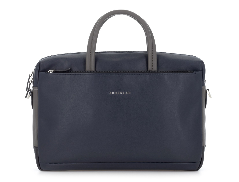 leather laptop bag blue dark front