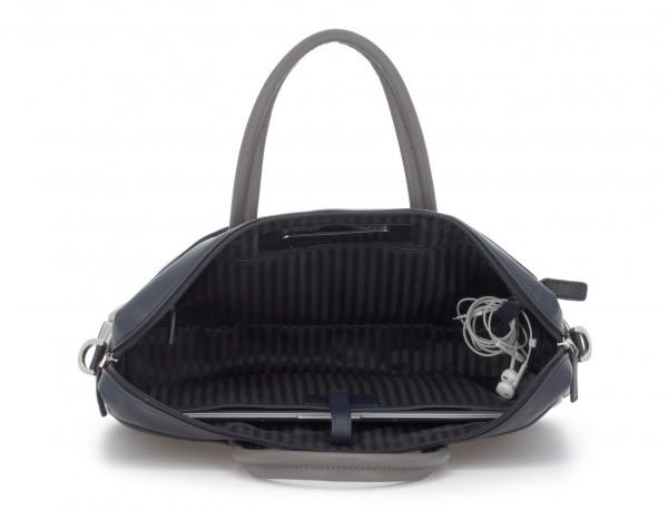 leather laptop bag blue dark inside