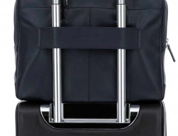 leather laptop bag blue dark trolley