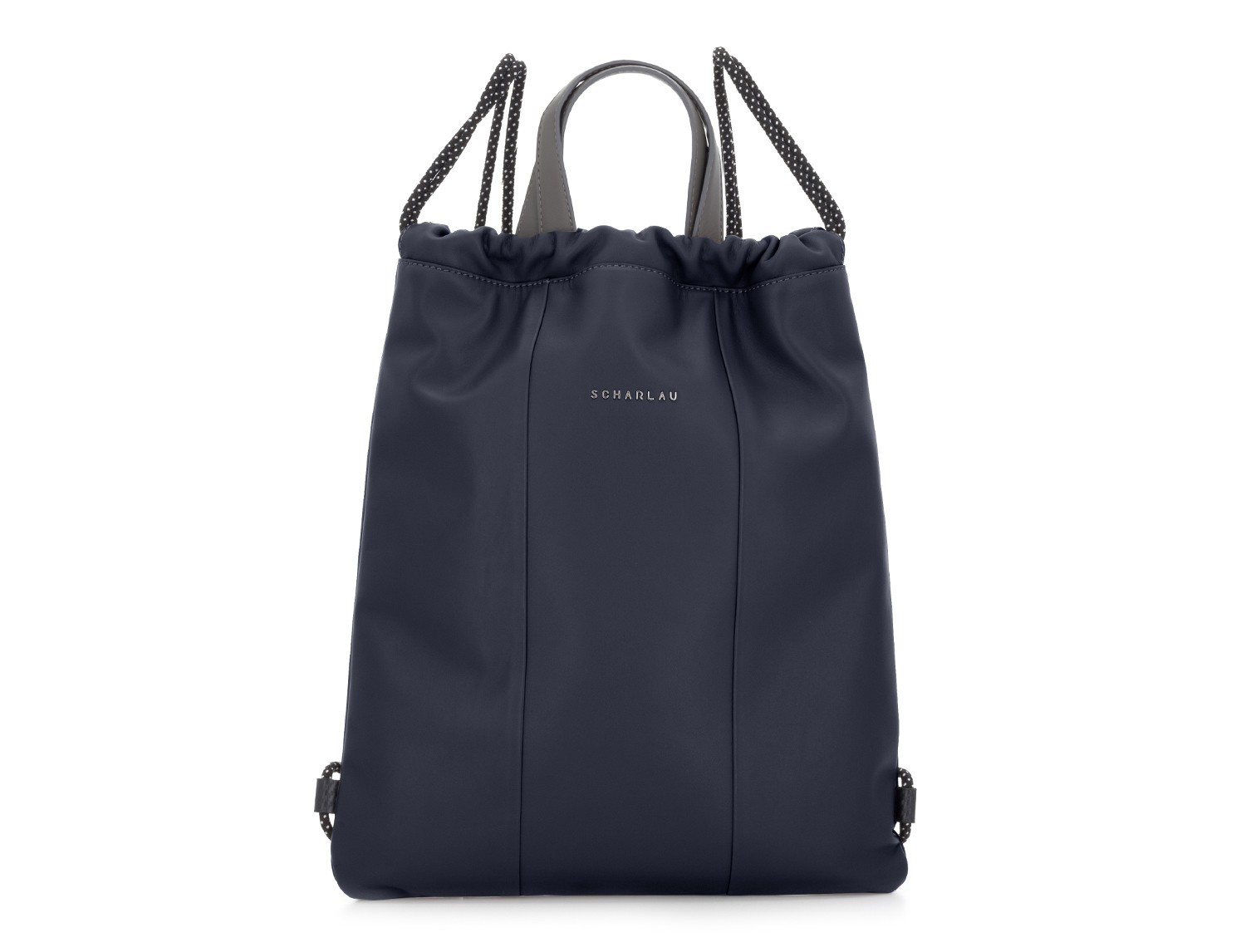 leather flat backpack in blue front