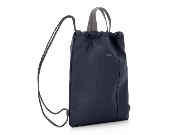 leather flat backpack in blue  side
