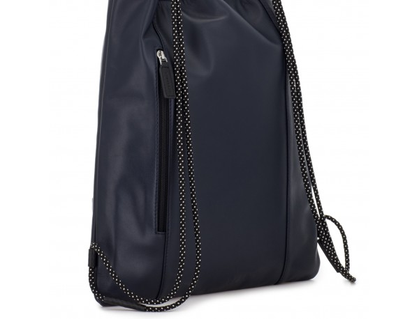 leather flat backpack in blue back
