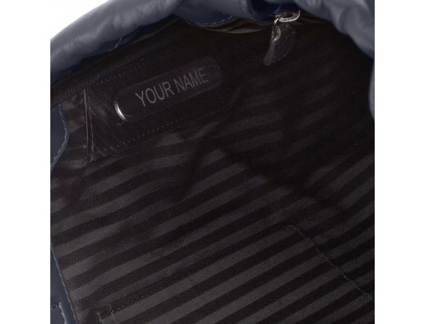 mochila plana de piel azul personalizada