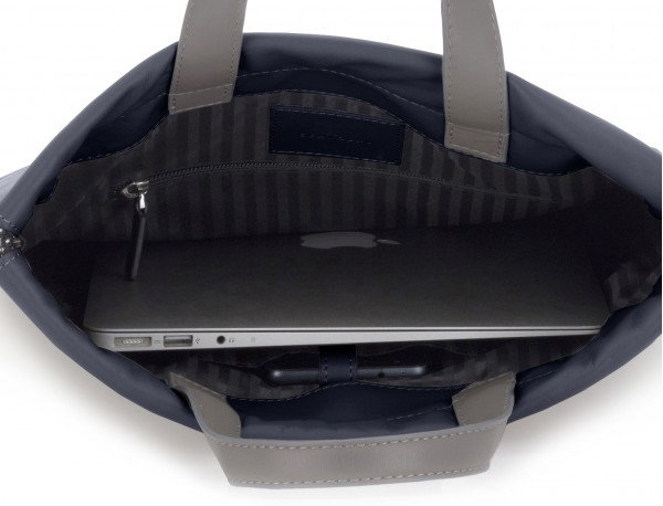 leather flat backpack in blue laptop