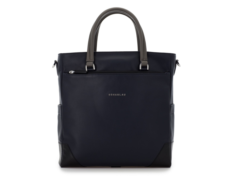 bolso mujer para ordenador de cuero azul oscuro frontal