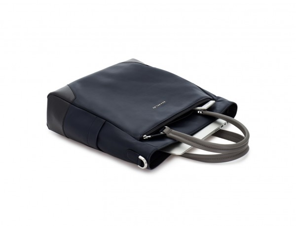 bolso mujer para ordenador de cuero azul oscuro lado