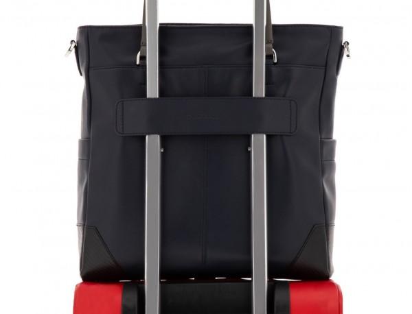 leather laptop woman bag dark blue trolley