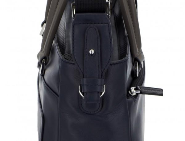 leather laptop woman bag dark blue strap