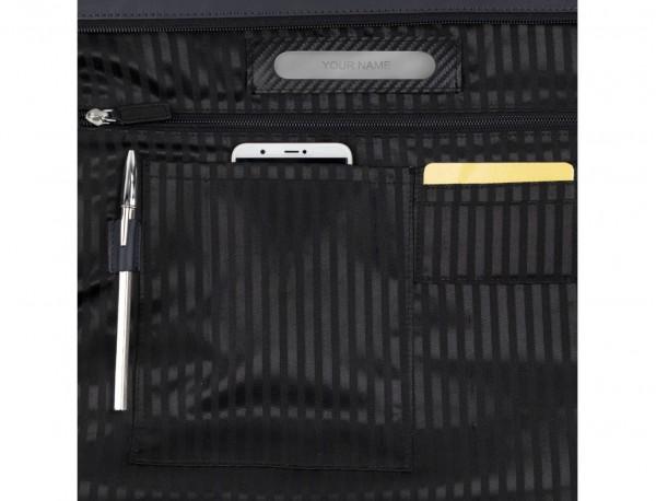bolso mujer para ordenador de cuero azul oscuro personalizado