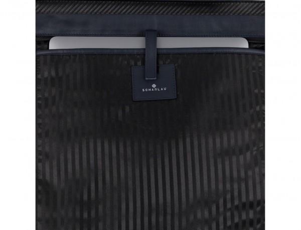 bolso mujer para ordenador de cuero azul oscuro detalle