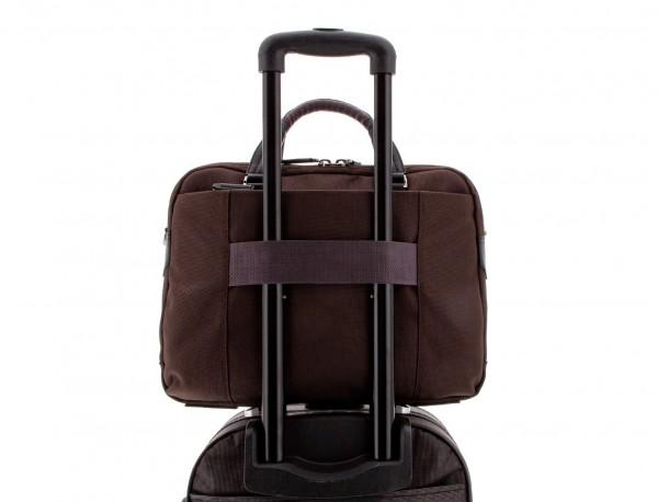 Cartella 2 scomparti per laptop marrone trolley