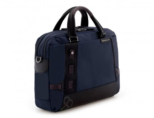 Cartella 2 scomparti per laptop blu  side