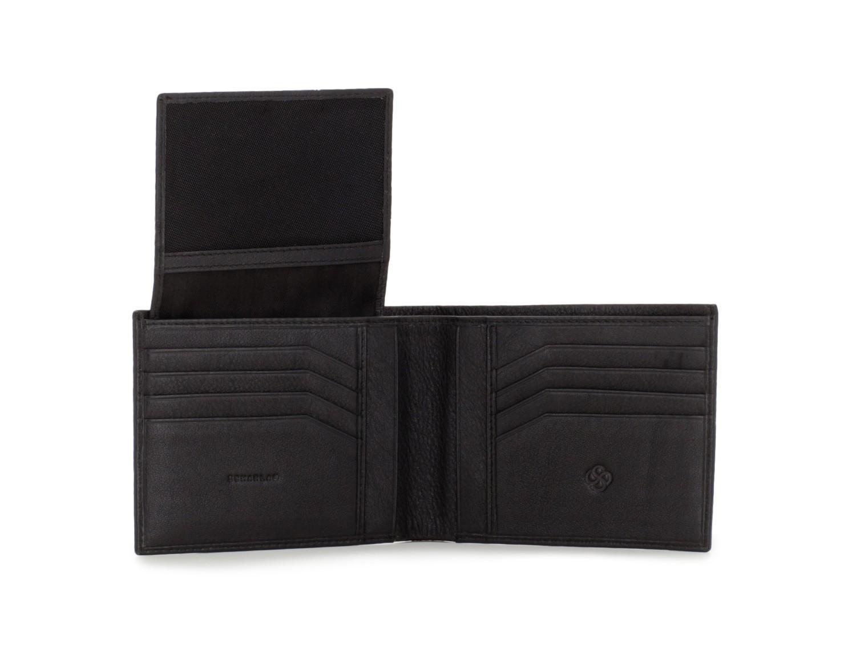 leather men wallet black open