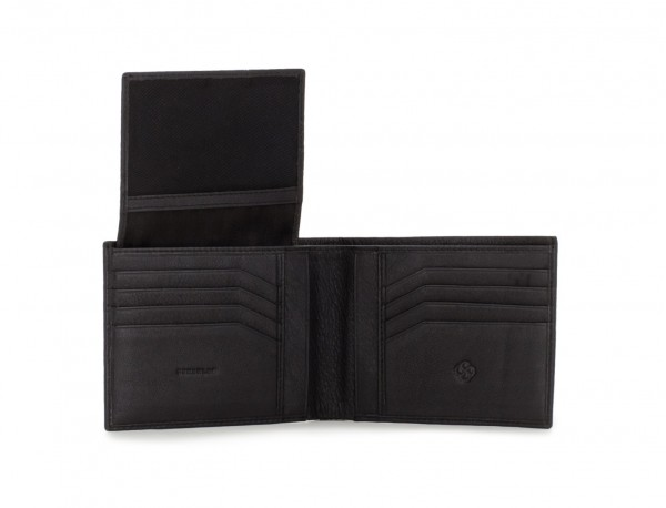 portafoglio in pelle per uomo nero open