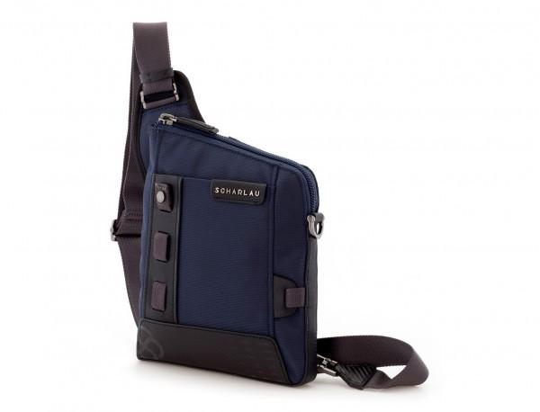 bolso bandolera de hombre azul  lado