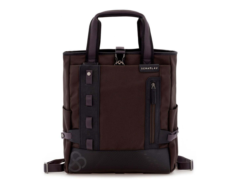 Bolso convertible en mochila marrón frontal