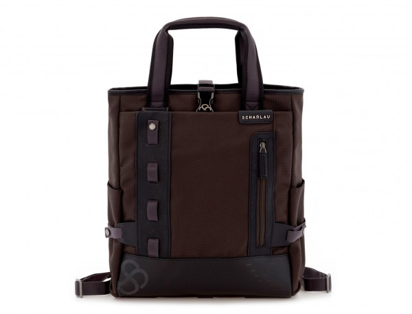 laptop bag and backpack brown front