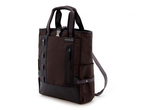 Bolso convertible en mochila marrón lado