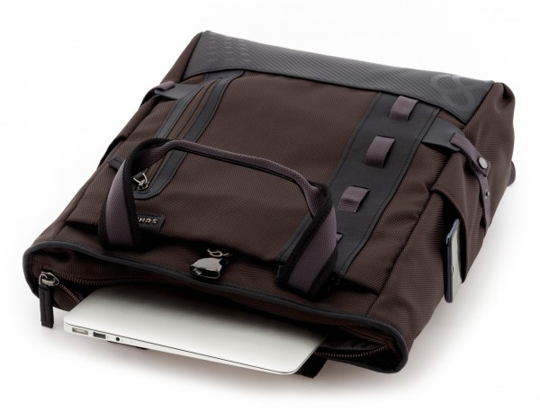 laptop bag and backpack brown open