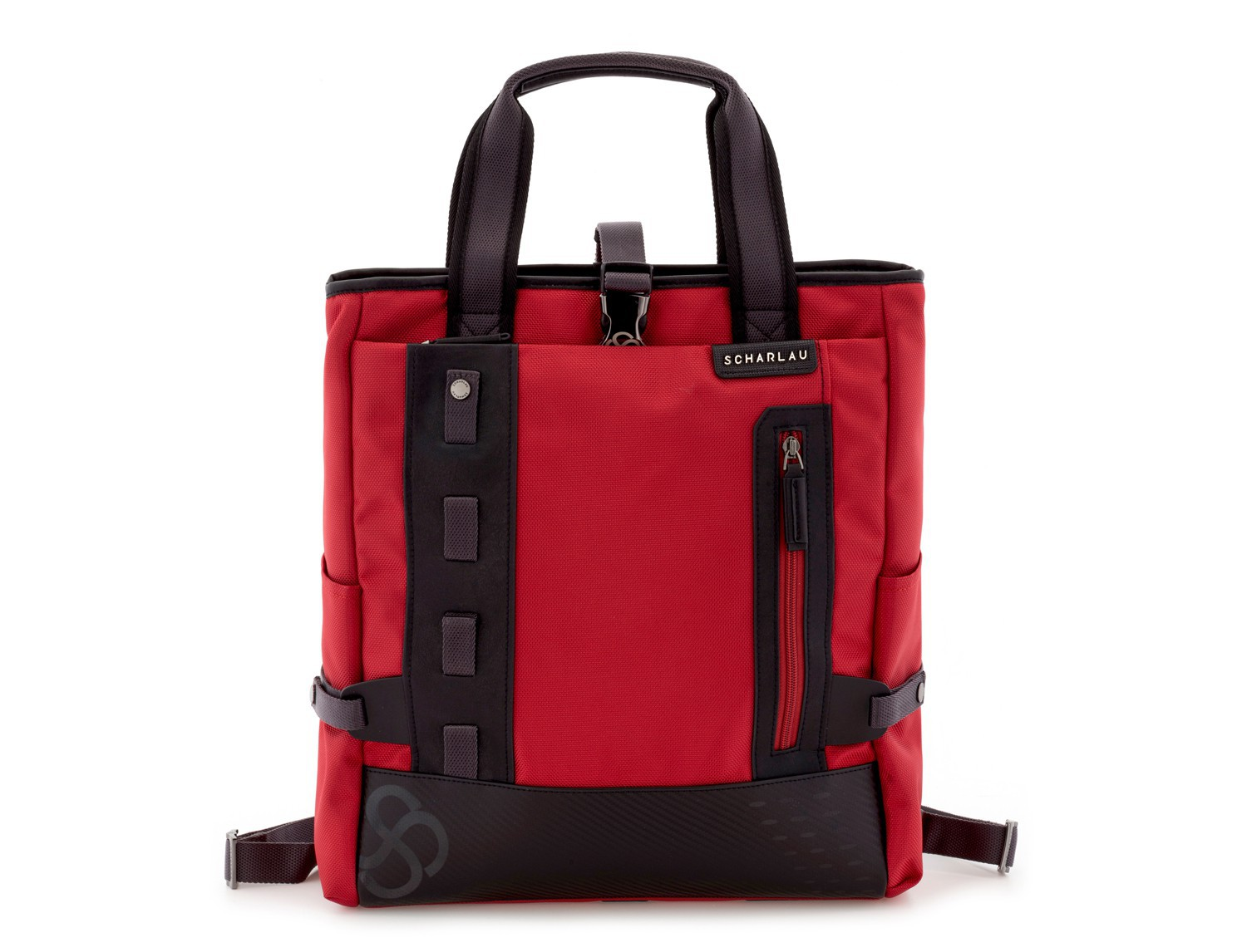 laptop bag and backpack red front