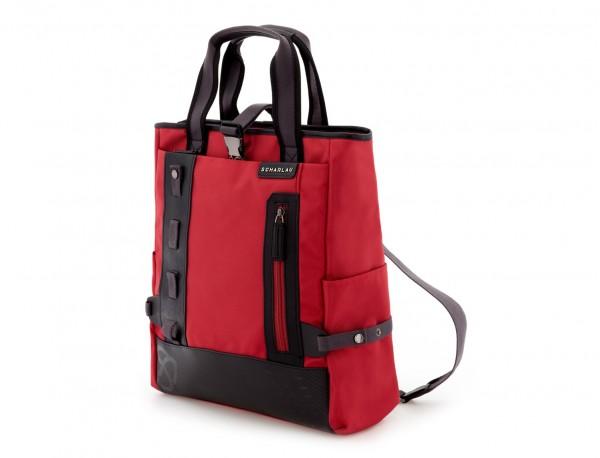 Bolso convertible en mochila rojo  lado