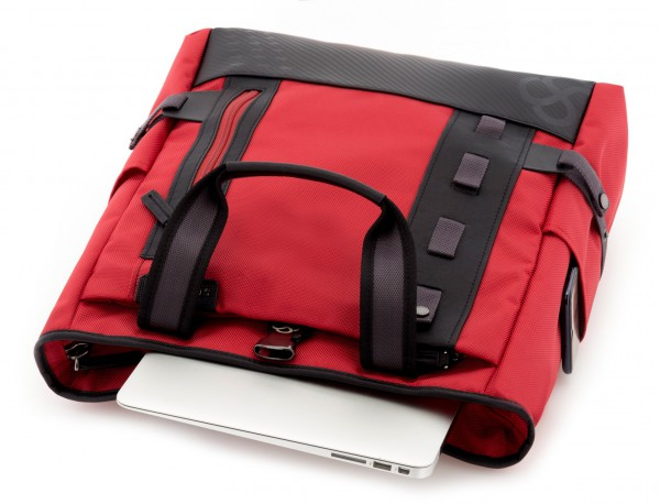 laptop bag and backpack red inside