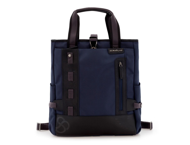 Bolso convertible en mochila azul frontal