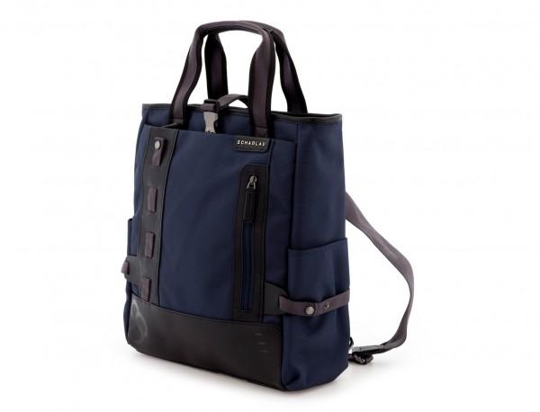 Bolso convertible en mochila azul  lado
