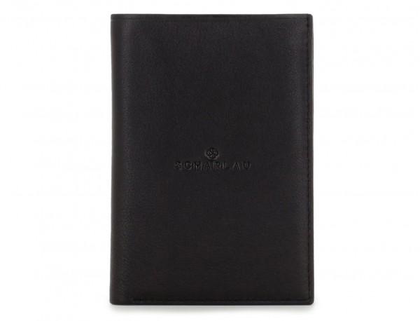billetero porta tarjetas negro de piel front