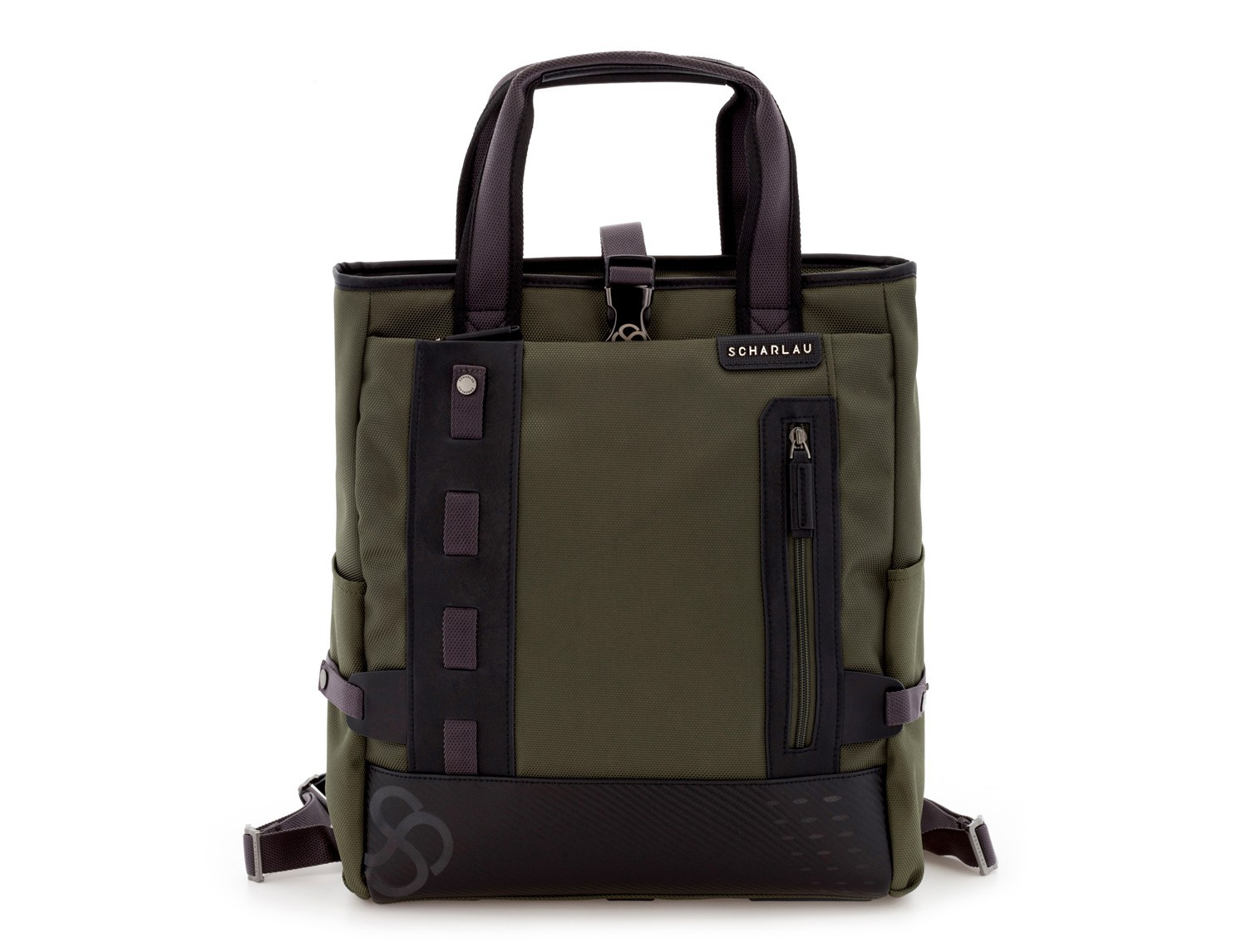 laptop bag and backpack green front