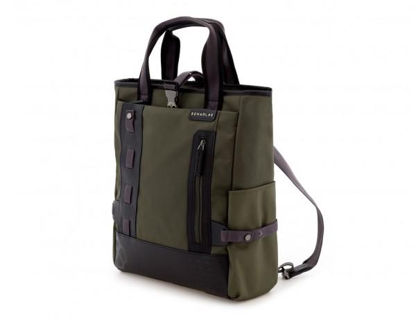 Bolso convertible en mochila verde lado